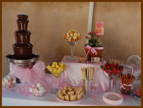 Chocolate Fountain 4 lbs of Premium Gourmet Chocolate 6 dipping delicacies. PACKAGE INCLUDES -Set-up dismantle removal and cleaning of fountain; & Chocolate Fountains